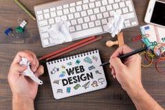 Het conceptenbrainstorming van het Webontwerp door het bureau met kantoorbehoeften Royalty-vrije Stock Fotografie