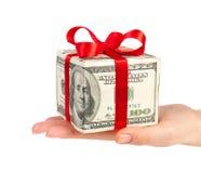 Het conceptendollars van het geld in de vorm van een giftdoos binnen royalty-vrije stock foto's