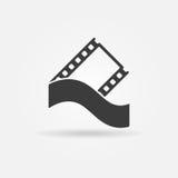 Het conceptenembleem of pictogram van de filmstrook Stock Afbeelding
