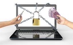 Het conceptenhangslot van de Malwareaanval met geld Stock Afbeeldingen