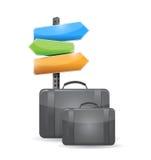 Het conceptenillustratie van de kofferreis Stock Foto's