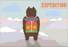 Het conceptenillustratie van de reisexpeditie met Wandelaar Royalty-vrije Stock Afbeeldingen