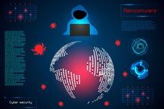Het concepteninformatie van de Infographic abstracte technologie van ransomwar stock illustratie