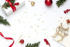Het conceptenkader van het Kerstmisnieuwjaar op de witte achtergrond royalty-vrije stock foto