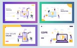 Het Conceptenlandingspagina van de Data Centerveiligheid Bedrijfsmensenkarakter met Geplaatst Notitieboekje Smartphone Online Int royalty-vrije illustratie