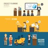 Het conceptenmensen van de bedrijfsontwerpconferentie geplaatst presentatie, plan vector illustratie