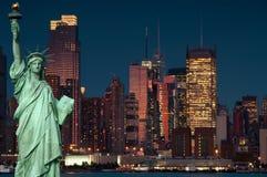Het conceptenNew York van het toerisme stad met standbeeldvrijheid Royalty-vrije Stock Foto's