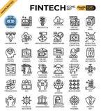 Het conceptenpictogrammen van de Fintech Financiële Technologie royalty-vrije illustratie