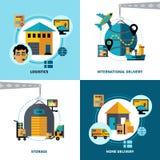 Het Conceptenreeks van het logistiek2x2 Ontwerp Stock Afbeelding