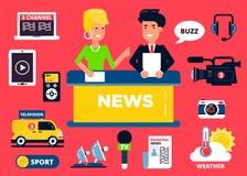 Het conceptenreeks van het nieuwsontwerp vlakke pictogrammen: royalty-vrije illustratie