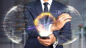 Het conceptentechnologie van het zakenmanhologram - kern photonic raket stock video