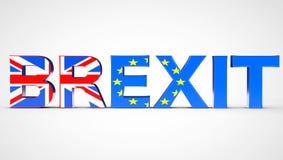 Het Conceptenteken van het Brexitreferendum als Britse en de EU-Vlaggen het 3d teruggeven Stock Fotografie