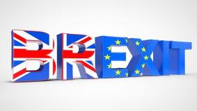 Het Conceptenteken van het Brexitreferendum als Britse en de EU-Vlaggen het 3d teruggeven Stock Foto