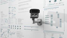 Het conceptentoezicht van de veiligheidscamera, Huisveiligheid IoT, Internet van Dingstechnologie met divers diagram, digitale ve stock footage