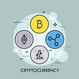 Het conceptenvector van de Cryptocurrency dunne lijn stock illustratie
