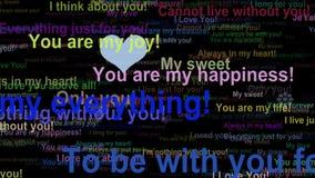 Het conceptenwoorden die van de liefdebekentenis, naadloze lijn zich UIT bewegen stock videobeelden