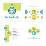 Het conceptontwerp plaatste 4 stijlen groene, blauwe, gele kleur Stock Fotografie