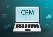 Het conceptontwerp van CRM met vectorelementen Vlakke pictogrammen van boekhoudsysteem, grafiek, cli?nten, steun, overeenkomst or royalty-vrije illustratie