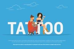 Het conceptontwerp van de tatoegeringsverslaving royalty-vrije illustratie