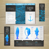 Het conceptontwerp van waterverfzeevruchten Collectieve Identity Stock Foto's