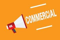 Het conceptuele hand het schrijven Commercieel tonen De bedrijfsfototekst betreffende of bezet in handel bedoelde te maken stock illustratie