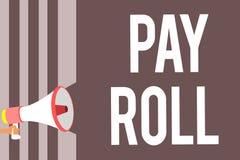 Het conceptuele hand het schrijven tonen betaalt Broodje Bedrijfsdiefoto demonstratiehoeveelheid lonen en salarissen door een bed stock illustratie