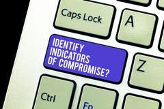 Het conceptuele hand het schrijven tonen identificeert Indicatoren van Compromis De bedrijfsfoto demonstratie ontdekt online malw stock fotografie