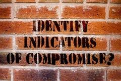 Het conceptuele hand het schrijven tonen identificeert Indicatoren van Compromis De bedrijfsfototekst ontdekt malware online aanv royalty-vrije stock afbeeldingen