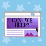 Het conceptuele hand het schrijven tonen kan wij helpen Bedrijfsfototekst die hulpsteun deskundig advies voor uw aanbieden vector illustratie