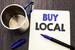 Het conceptuele hand het schrijven tonen koopt Lokaal Bedrijfsfoto demonstratie het Kopen de Aankoop winkelt plaatselijk de Detai royalty-vrije stock fotografie