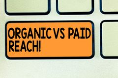 Het conceptuele hand het schrijven tonen Organisch versus Betaald Bereik Bedrijfsfoto demonstratie Stijgende aanhangers natuurlij stock afbeeldingen