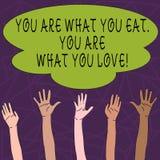 Het conceptuele hand het schrijven tonen u is Wat u u bent eet van Wat u houdt Het Begin van de bedrijfsfototekst om gezond te et royalty-vrije illustratie