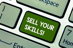 Het conceptuele hand het schrijven tonen verkoopt Uw Vaardigheden De bedrijfsfoto demonstratie maakt uw capaciteit om iets goed t royalty-vrije stock foto