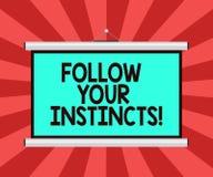 Het conceptuele hand het schrijven tonen volgt Uw Instincten De bedrijfsfoto demonstratie luistert aan uw intuïtie en luistert aa vector illustratie