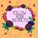 Het conceptuele hand het schrijven tonen volgt Uw Instincten De bedrijfsfototekst luistert aan uw intuïtie en luistert aan uw vector illustratie