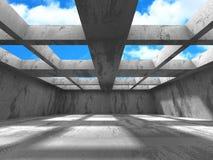 Het concrete binnenland van de muren lege ruimte Abstracte architectuur met s Stock Afbeelding