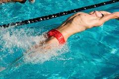 Het concurrerende Zwemmen Stock Foto