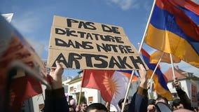 Het conflictprotest van Azerbeidzjan Armenië stock video
