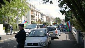 Het conflictprotest van Azerbeidzjan Armenië stock videobeelden