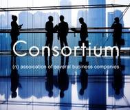 Het consortium Alliance combineert Behulpzaam Groepsconcept stock foto