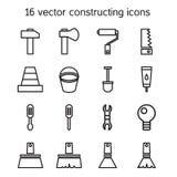 Het construeren en de bouw geplaatste pictogrammen Stock Foto's