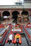 Het construeren van Nieuwe het spoorpost van Leeds van de Zuideningang Stock Afbeeldingen
