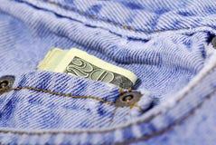 Het Contante geld van de zak stock afbeelding