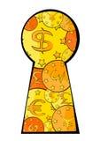 Het contante geld van het sleutelgat Stock Foto