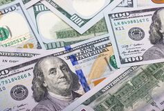 Het contante geldachtergrond van het 100 Amerikaanse dollar abstracte geld Stock Afbeeldingen