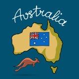 Het continent van Australië in krabbelstijl stock illustratie