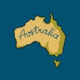 Het continent van Australië in krabbelstijl royalty-vrije illustratie