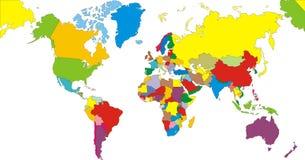 Het Continent van de Kaart van de wereld Royalty-vrije Stock Foto's