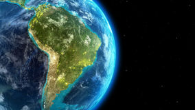 Het continent van Zuid-Amerika samen met stadslichten van kosmische ruimte Stock Afbeelding