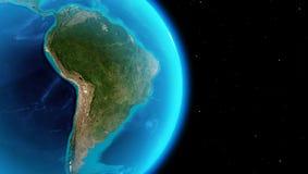 Het continent van Zuid-Amerika van kosmische ruimte stock illustratie